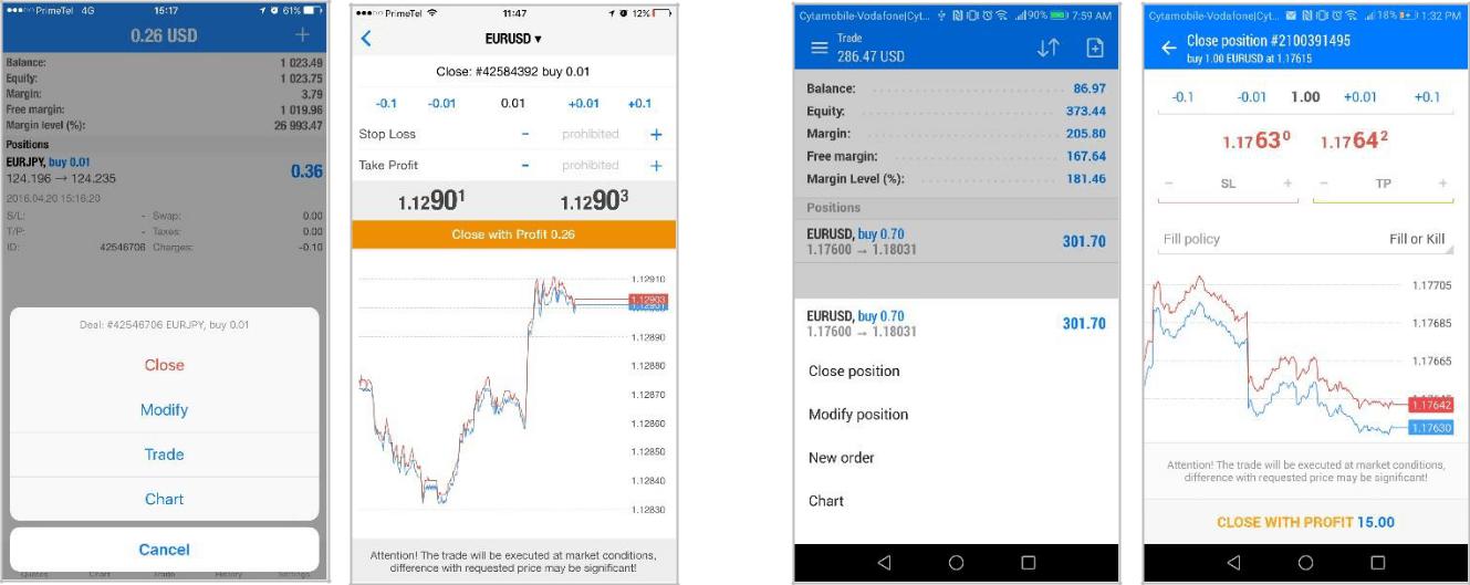 Открытие и закрытие ордеров в мобильном торговом приложение MetaTrader 5 для Android и iPhone