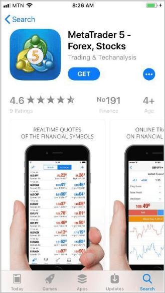 Скачивание и установка мобильного приложения MetaTrader 5 на iPhone